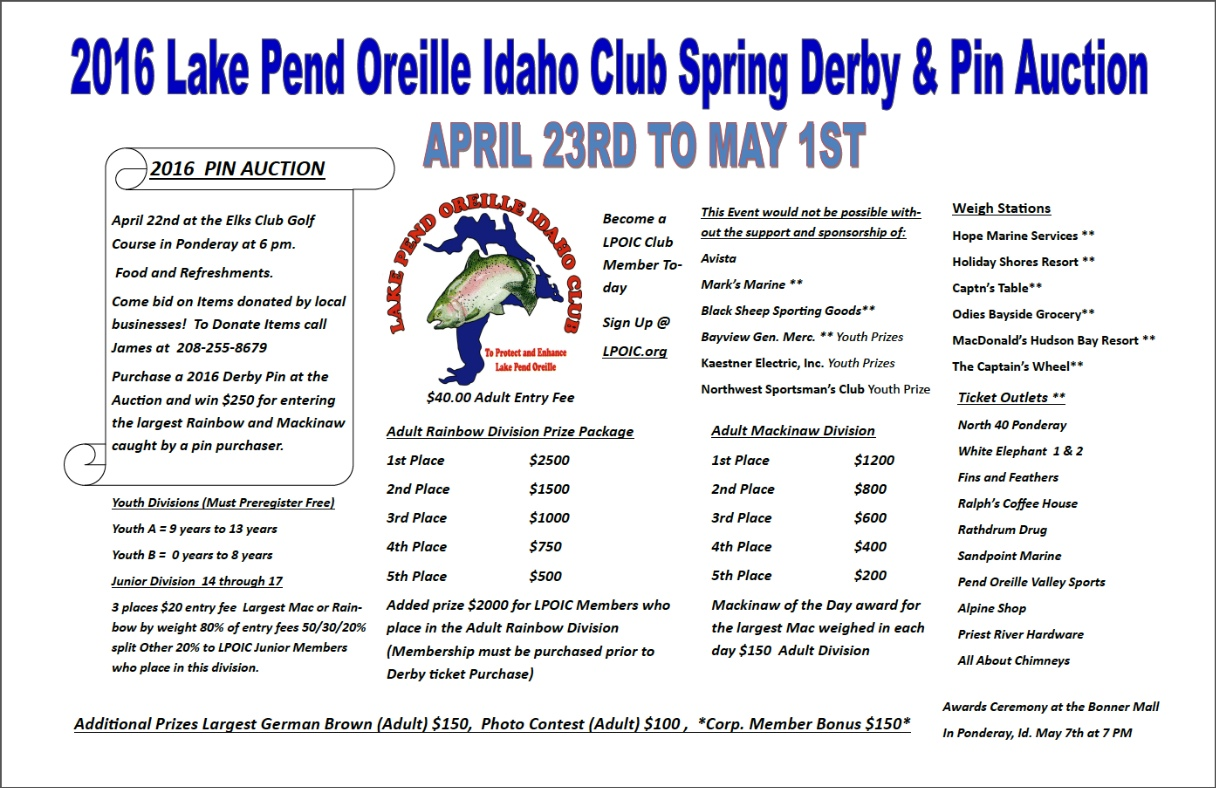 2016 Spring K&K Fishing Derby Poster