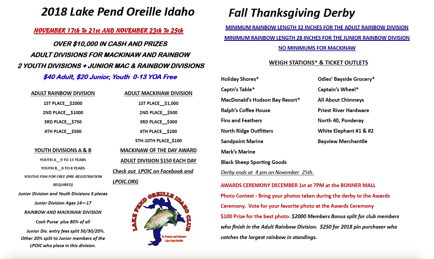 Lake Pend Oreille Idaho Club 2018 Fall Fishing Derby